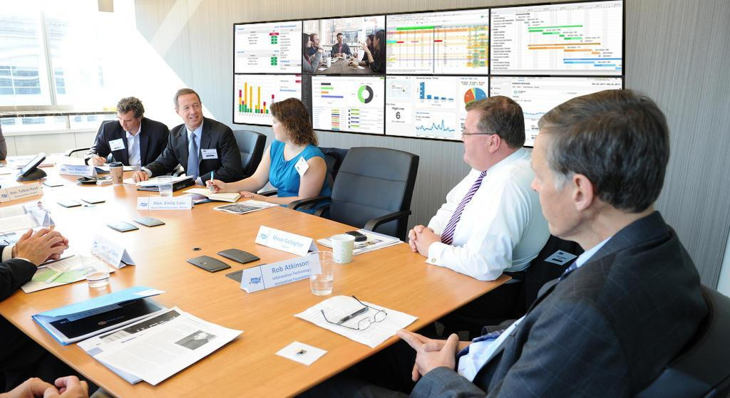 Display information on video walls during conference meetings