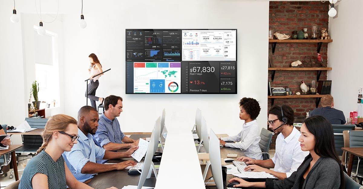 office video wall displaying dashboards for team working in financial department